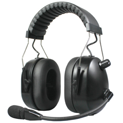 <b>HBB-EM-OHB Series - Dual Earmuff Headset</b>: Aviation Style (over-the-head) Dual Muff Headset. Flat Black finish.  NOW WITH CERTIFIED NRR 24dB