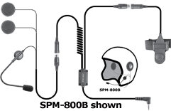 <b>&quot;HIGHWAY&quot; SPM-800(B/F) Series - Medium Duty Motorcycle Helmet Microphone:</b> Motorcycle Helmet with Dual High Output Speakers. Available for either full or half-face helmets.
