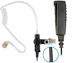 <p>NEW BRAIDED FIBER 2-WIRE KIT-Surveillance Kit with Noise Reduction Mic on seperate&nbsp;cables allow Mic &amp; PTT to be conveniently and discreetly located.</p>
