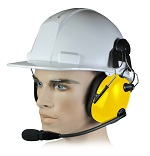 <b>HBB-EM-HM (Helmet Mount) Series - Dual Earmuff Headset</b>: Dual Muff Headset clips to most standard Safety Helmets. Flat Black or Safety Yellow finish.  NRR 24dB