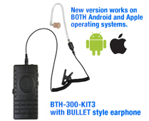 BTH-300-Z Bluetooth microphone kits for ZELLO, 9 different versions! Includes built-in wireless PTT. Includes charger and charging cable.